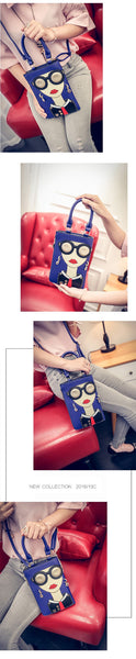 New Fashion- Funny Woman with Glasses PU Leather Crossbody Bag