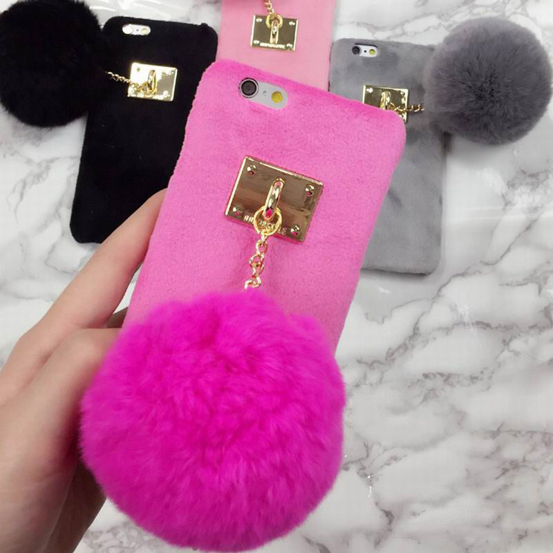Fuzzy Candy Color Case With Fashion Pom Pom Bling - High Maintenance Bitch