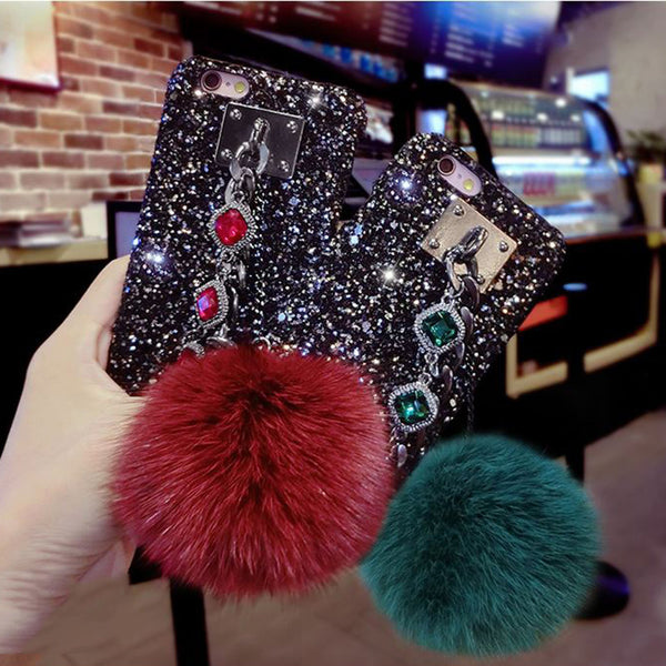 Hot Luxury Bling Glitter Powder Cell Case with Faux Fur Pom Pom Bling - High Maintenance Bitch