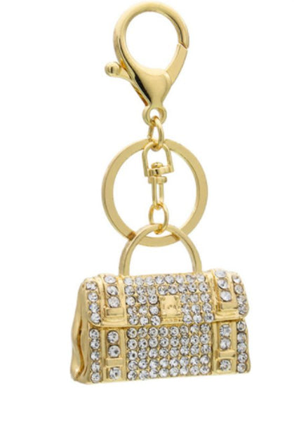 Bling & Gold Mini-Handbag Purse Charm/Key Chain