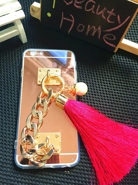 Luxury Gold Chain Mirror TPU Case with Tassel & Pearl Bling - High Maintenance Bitch