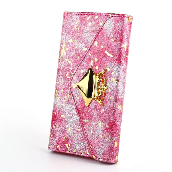 Gold Crown and Metallic Fleck PU Leather Wallet Flip Case Bling - High Maintenance Bitch