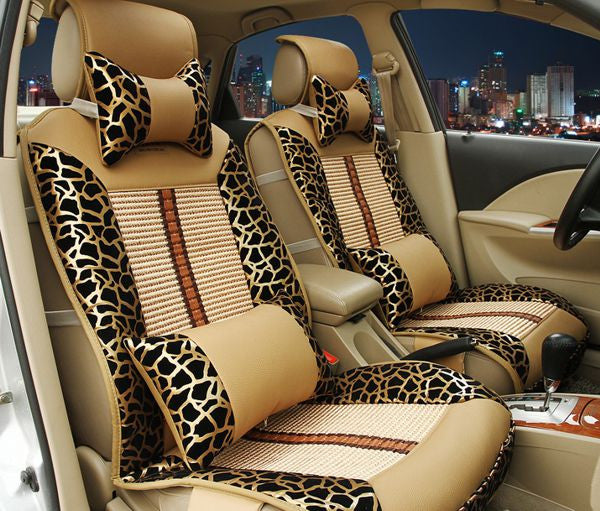 Leopard Print Full Car Seat Cover Set Bling - High Maintenance Bitch