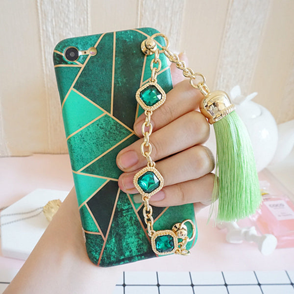 3D Bling Rhinestone Chain With Geometric Pattern Cell Case (Jade Green) Bling - High Maintenance Bitch