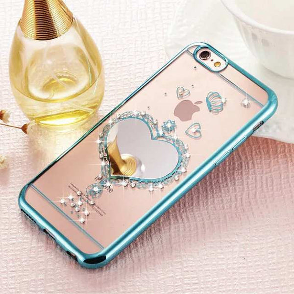 Diamond Embellished Heart Mirror Clear Soft TPU Case Bling - High Maintenance Bitch