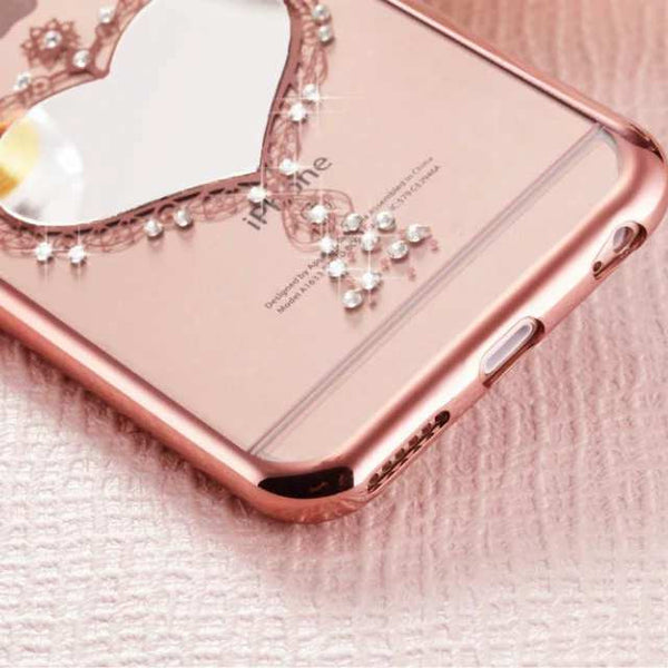 Diamond Embellished Heart Mirror Clear Soft TPU Case - High Maintenance Bitch