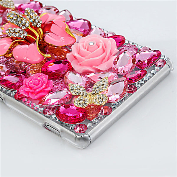 Luxury 3D Over-Sized Rhinestone Bling Diamond Hot Pink Hybiscus Case Bling - High Maintenance Bitch
