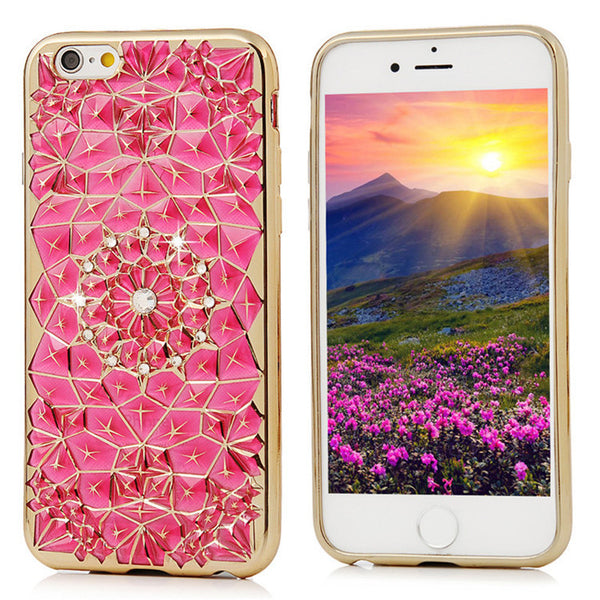3D Electroplated Transparent Soft TPU  Diamond Flower Case Bling - High Maintenance Bitch