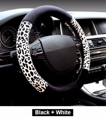 Animal Print & Faux Leather Steering Wheel Cover