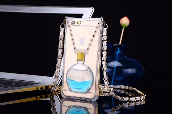 Transparent Perfume Bottle with Colored Liquid and Kickstand