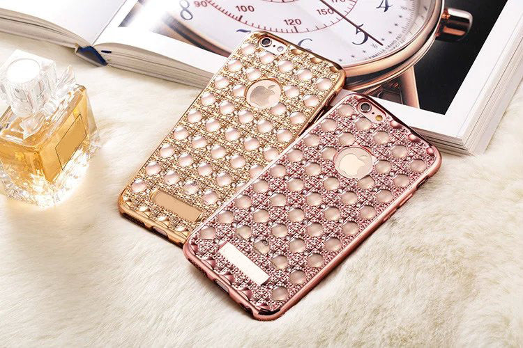 "Luxury Diamond ""Bubble"" Electroplated Grid Phone Case - High Maintenance Bitch"