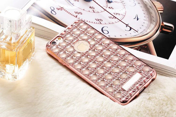 "Luxury Diamond ""Bubble"" Electroplated Grid Phone Case"