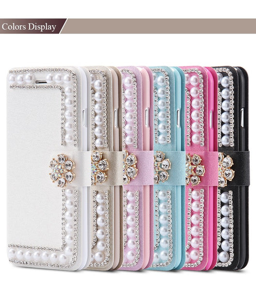 Pearl & Bling Wallet Style Stand Case