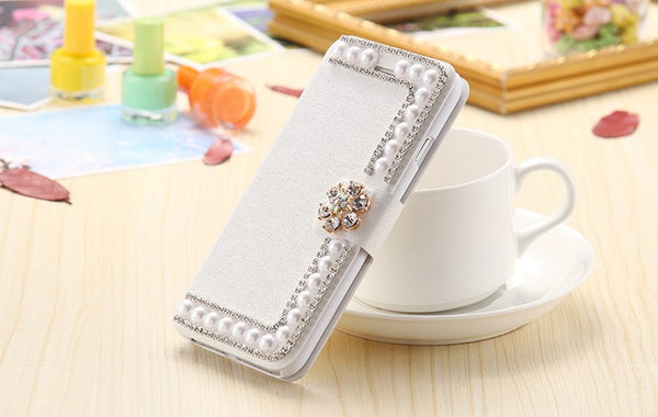 Pearl & Bling Wallet Style Stand Case Bling - High Maintenance Bitch