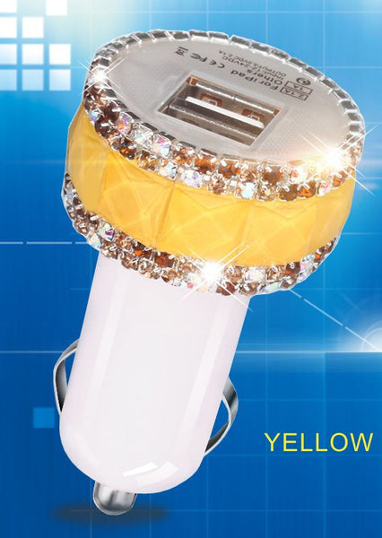 High-grade Diamond Bling Car Dual USB Slot Charger For Cell Phone/Tablet