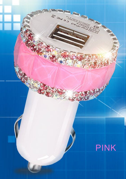 High-grade Diamond Bling Car Dual USB Slot Charger For Cell Phone/Tablet Bling - High Maintenance Bitch