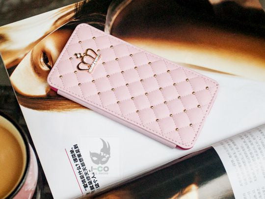 Crown & Rivet Grid Leather Case Bling - High Maintenance Bitch