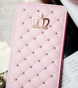 Crown & Rivet Grid Leather Case - High Maintenance Bitch