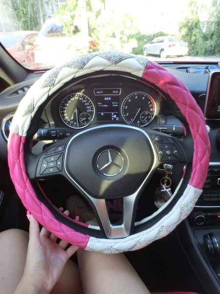 Crystal Leather & Diamond Steering Wheel Cover Bling - High Maintenance Bitch