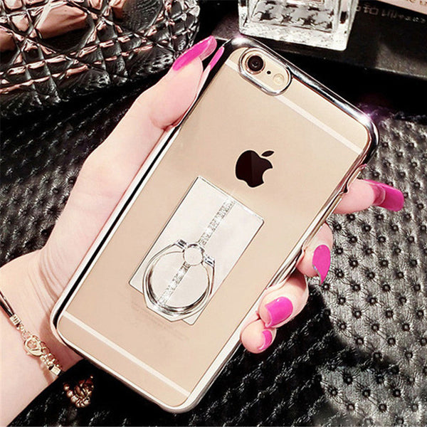 Luxury Electroplate Soft Case With Diamond Bling Metal Ring Stand Bling - High Maintenance Bitch