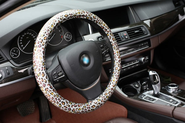 Fashion Sparkle Leather Leopard Steering Wheel Cover Bling - High Maintenance Bitch