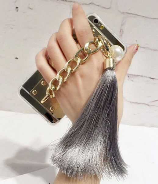 Gold Metal Rope Mirror Tassel Case For iPhone 6/6S 4.7 inch Silicone Tassel