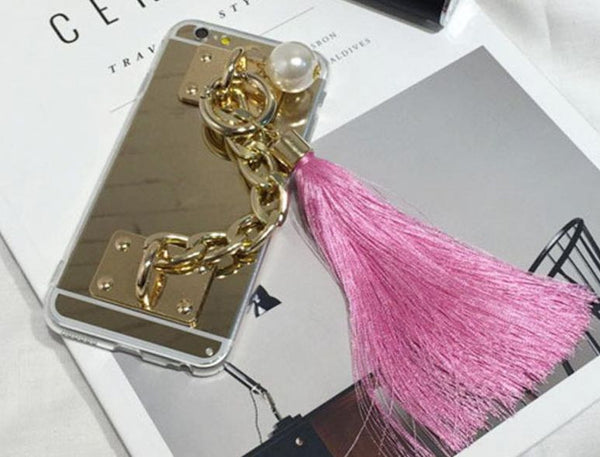 Gold Metal Rope Mirror Tassel Case For iPhone 6/6S 4.7 inch Silicone Tassel - High Maintenance Bitch