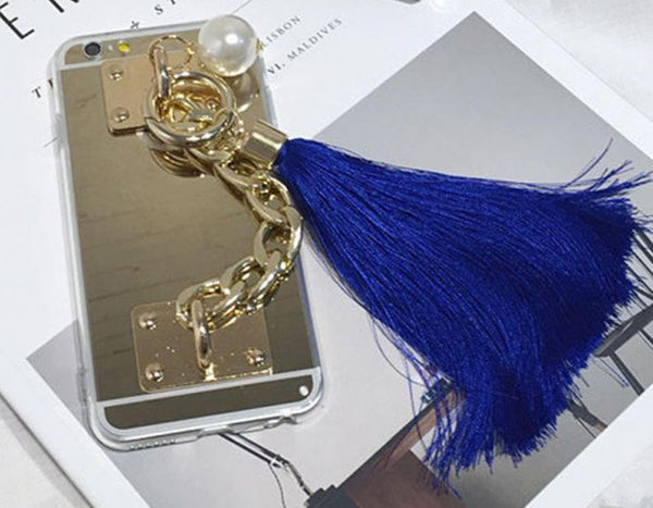 Gold Metal Rope Mirror Tassel Case For iPhone 6/6S 4.7 inch Silicone Tassel Bling - High Maintenance Bitch