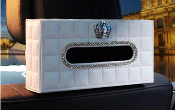 Crystal Car Tissue Box Holder (Swan or Crown) Decroration Bling - High Maintenance Bitch