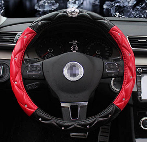 Bling Crown Duo-Color Steering Wheel Cover with Diamond Bling Bling - High Maintenance Bitch