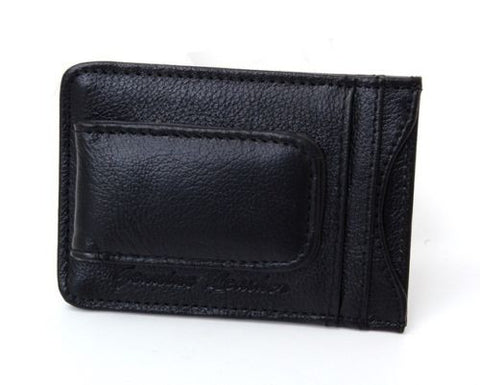 A Mens Leather Money Clip Front Pocket Wallet