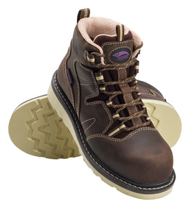 "Women's Wedge Brown Carbon Toe EH WP 6"" Work Boot"