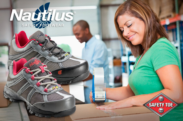 nautilus safety footwear in a warehouse