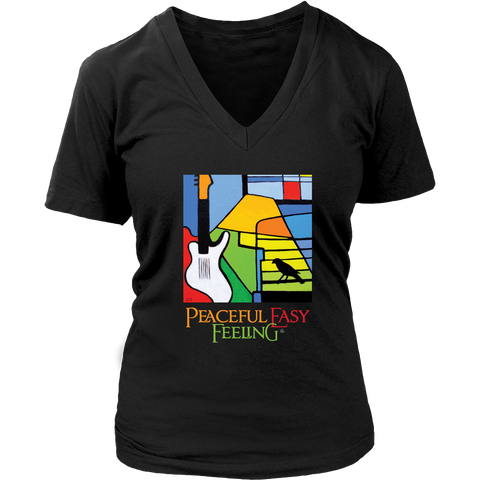 Peaceful Easy Feeling Logo Womens V-Neck