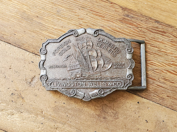Livingston Wells & Co Vintage Foreign Domestic Gold Dealers Belt Buckle