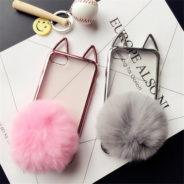 Cat Ear Furry Tail Phone Back Cover