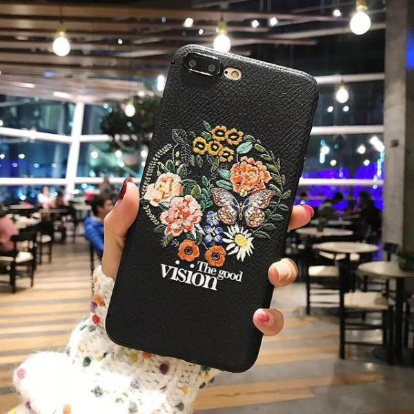 Rose Embroidery iPhone Case