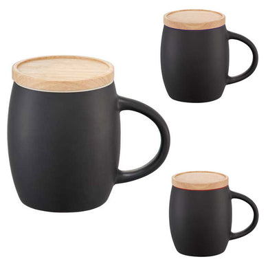Ceramic Mug With Wood Lid/Coaster 14 oz
