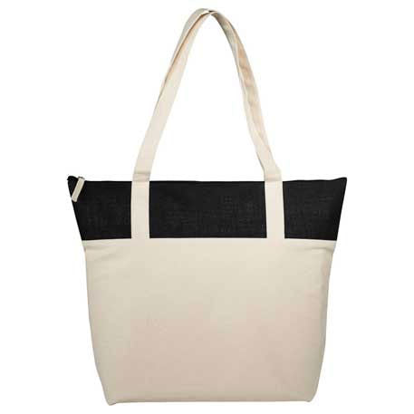 Cotton and Jute Accent Zippered Tote