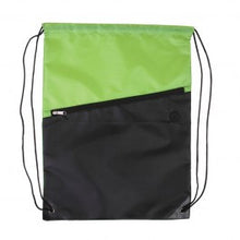 Two-Tone Poly Drawstring Backpack w/ Zipper