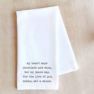 Chocolate and Wine - Tea Towel - - - Gifts - Cultured Cloths Apparel
