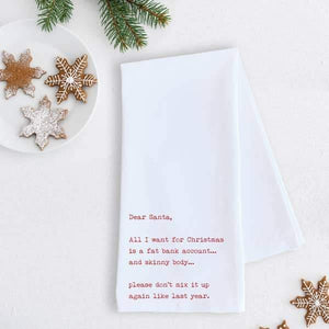 Fat Bank Account - Tea Towel - Holiday -RED TEXT -RED TEXT - Gifts - Cultured Cloths Apparel