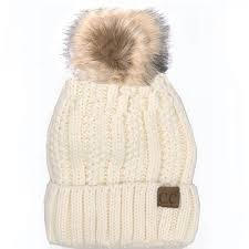 CC Fuzzy Lining With Knitted Beanie And Fur Pom Pom -Ivory -Ivory - Accessories, Hats - Cultured Cloths Apparel