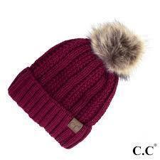 CC Fuzzy Lining With Knitted Beanie And Fur Pom Pom -Burgundy -Burgundy - Accessories, Hats - Cultured Cloths Apparel