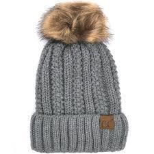 CC Fuzzy Lining With Knitted Beanie And Fur Pom Pom -Natural Grey -Natural Grey - Accessories, Hats - Cultured Cloths Apparel