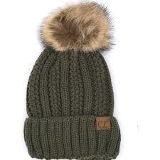 CC Fuzzy Lining With Knitted Beanie And Fur Pom Pom -New Olive -New Olive - Accessories, Hats - Cultured Cloths Apparel