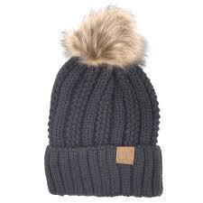 CC Fuzzy Lining With Knitted Beanie And Fur Pom Pom - - - Accessories, Hats - Cultured Cloths Apparel