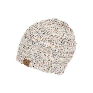 CC Cable Knit Confetti Hat - Multi tone -Ivory -Ivory - Accessories, Hats - Cultured Cloths Apparel