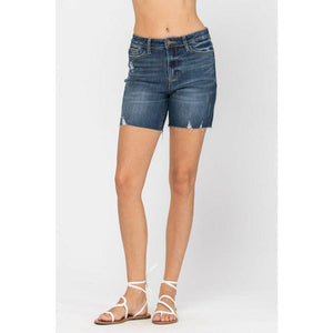 Judy Blue High Rise Mid-Thigh Shorts - - - Women's Shorts - Cultured Cloths Apparel