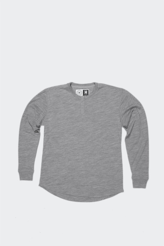 MENS WOOL BASE LAYER HENLEY LUNAR